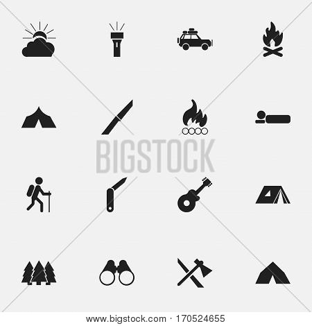 Set Of 16 Editable Travel Icons. Includes Symbols Such As Clasp-Knife, Voyage Car, Pine And More. Can Be Used For Web, Mobile, UI And Infographic Design.