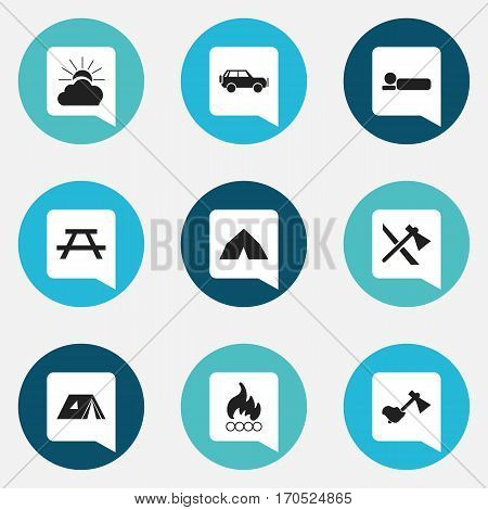 Set Of 9 Editable Camping Icons. Includes Symbols Such As Blaze, Ax, Tomahawk And More. Can Be Used For Web, Mobile, UI And Infographic Design.