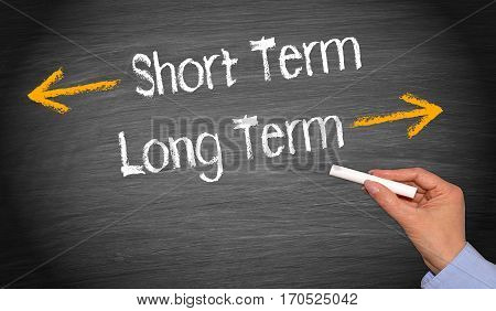 Short Term and Long Term - chalkboard with female hand and text