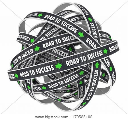 Road to Success Achieve Goal Succeed 3d Illustration