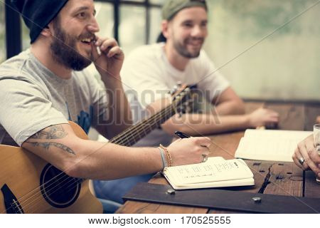 Men Play Guitar Write Song Music Rehearsal