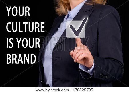 Your Culture is your Brand - Businesswoman with checkbox and text