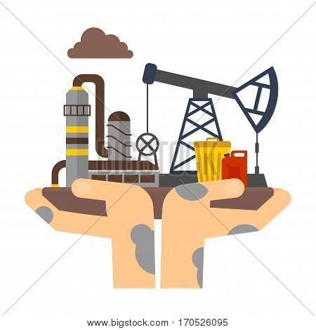 Dirty hands holding plant polluting. Danger of toxic waste, toxic emissions. Flat vector cartoon illustration. Objects isolated on a white background.
