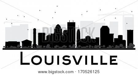 Louisville City skyline black and white silhouette. Simple flat illustration for tourism presentation, banner, placard or web site. Cityscape with landmarks.