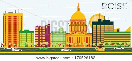 Boise Skyline with Color Buildings and Blue Sky. Business Travel and Tourism Concept. Image for Presentation Banner Placard and Web Site.