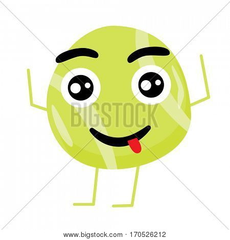 Cute Tennis Ball Cartoon Character.