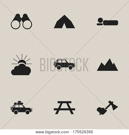 Set Of 9 Editable Trip Icons. Includes Symbols Such As Field Glasses, Sunrise, Voyage Car And More. Can Be Used For Web, Mobile, UI And Infographic Design.