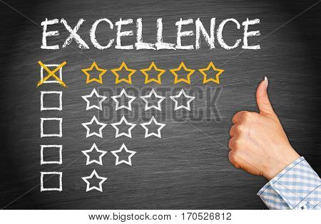 Excellence - five stars and thumb up