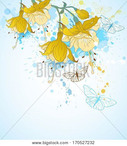 Abstract background with yellow tropical flowers and butterflies