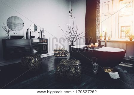 Original Oriental style black bathroom interior with a boat shaped tub, ornaments and burning candles lit by the glow from a large widow, 3d rendering