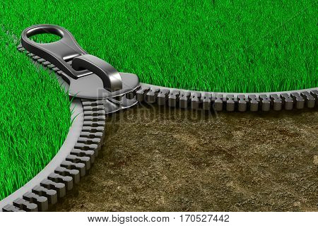 Zipper with grass and ground. Isolated 3D image