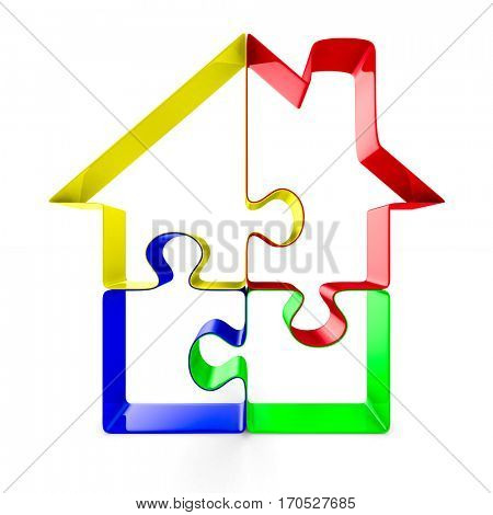 House from puzzle on white background. Isolated 3D image