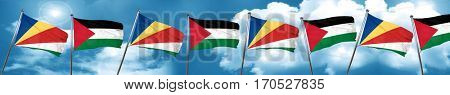 seychelles flag with Palestine flag, 3D rendering