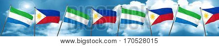 Sierra Leone flag with Philippines flag, 3D rendering
