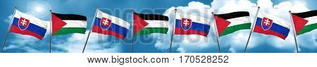 Slovakia flag with Palestine flag, 3D rendering