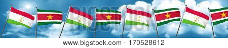 Tajikistan flag with Suriname flag, 3D rendering