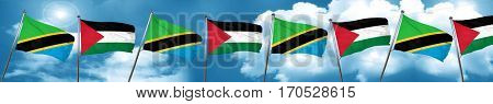 Tanzanian flag with Palestine flag, 3D rendering