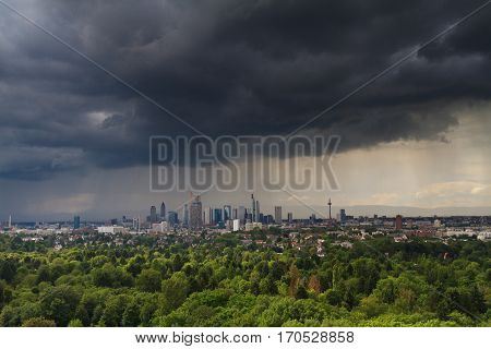Panorama of the Rhein Main Valley with the skyline of Frankfurt and dramtic clouds Hessen Germany