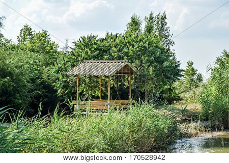 Arbour On The Bank Of The Pond. Resting Place On The Nature Of W
