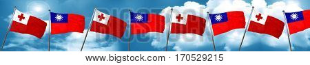 Tonga flag with Taiwan flag, 3D rendering
