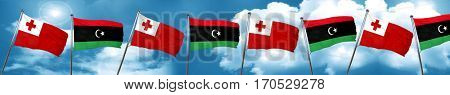 Tonga flag with Libya flag, 3D rendering
