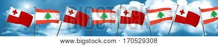 Tonga flag with Lebanon flag, 3D rendering