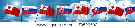 Tonga flag with Slovakia flag, 3D rendering