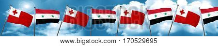 Tonga flag with Syria flag, 3D rendering