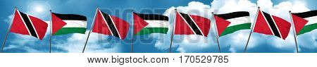 Trinidad and tobago flag with Palestine flag, 3D rendering