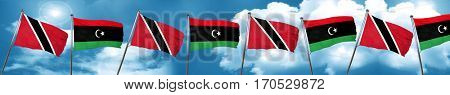 Trinidad and tobago flag with Libya flag, 3D rendering