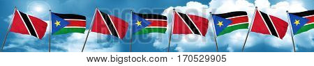 Trinidad and tobago flag with South Sudan flag, 3D rendering
