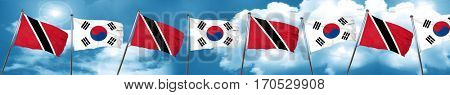 Trinidad and tobago flag with South Korea flag, 3D rendering