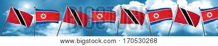 Trinidad and tobago flag with North Korea flag, 3D rendering