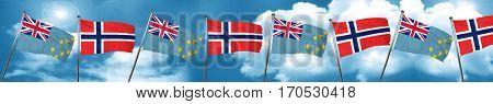 Tuvalu flag with Norway flag, 3D rendering
