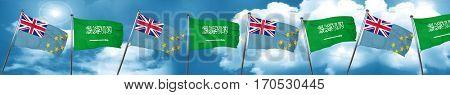 Tuvalu flag with Saudi Arabia flag, 3D rendering