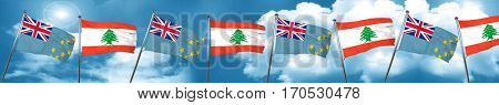 Tuvalu flag with Lebanon flag, 3D rendering