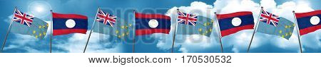 Tuvalu flag with Laos flag, 3D rendering