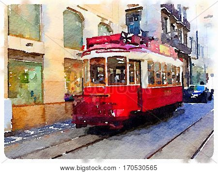 Digital watercolor painting of a traditional vintage red tram in Lisbon Portugal riding through the picturesque streets. Hop on hop off tram transportation through Lisbon.
