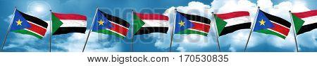 south sudan flag with Sudan flag, 3D rendering