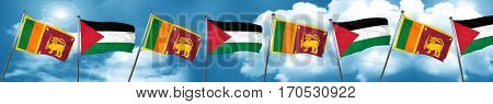 Sri lanka flag with Palestine flag, 3D rendering