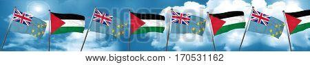 Tuvalu flag with Palestine flag, 3D rendering