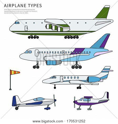 Thin line flat design of airplanes. Different modern airplanes. Icons for airline companies banners. Several types of modern aircrafts isolated on white background