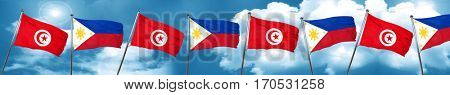 Tunesia flag with Philippines flag, 3D rendering