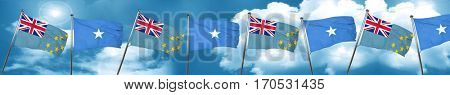 Tuvalu flag with Somalia flag, 3D rendering