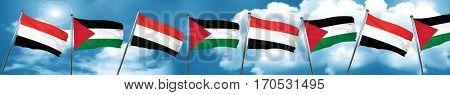 Yemen flag with Palestine flag, 3D rendering