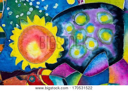 Petals, Colorful Abstraction, Fragment, Hot Batik