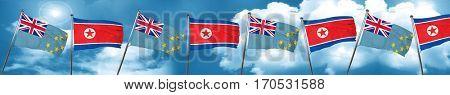 Tuvalu flag with North Korea flag, 3D rendering