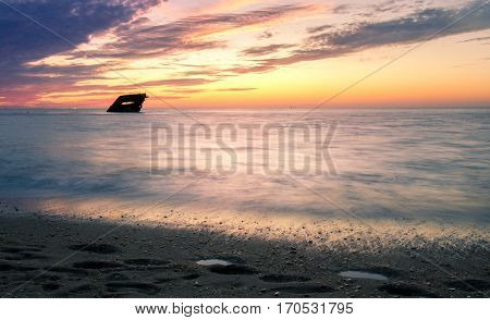 Romantic Sunset With A Shipwreck In Cape May
