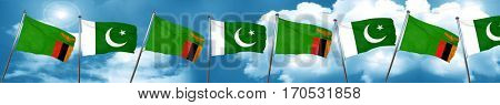 Zambia flag with Pakistan flag, 3D rendering