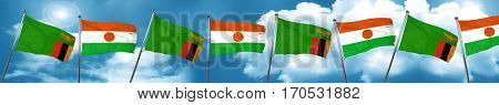 Zambia flag with Niger flag, 3D rendering